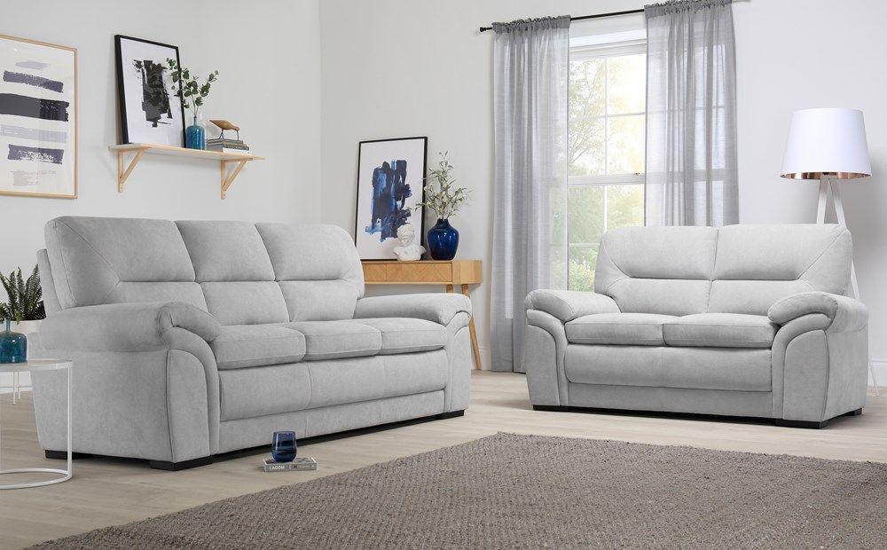 Bromley Dove Grey Plush Fabric Sofa 3 2 Seater Only 699 98 Furniture Choice Sofa Set Furniture Choice Fabric Sofa
