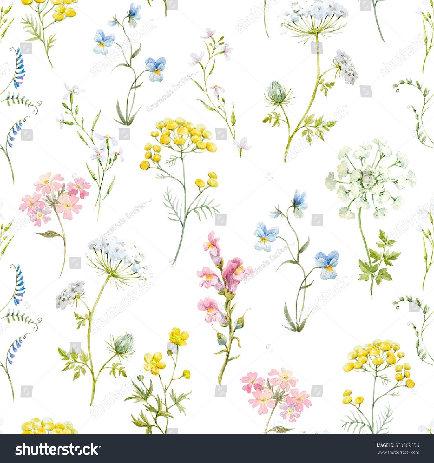 Watercolor Floral Pattern Delicate Flower Wallpaper