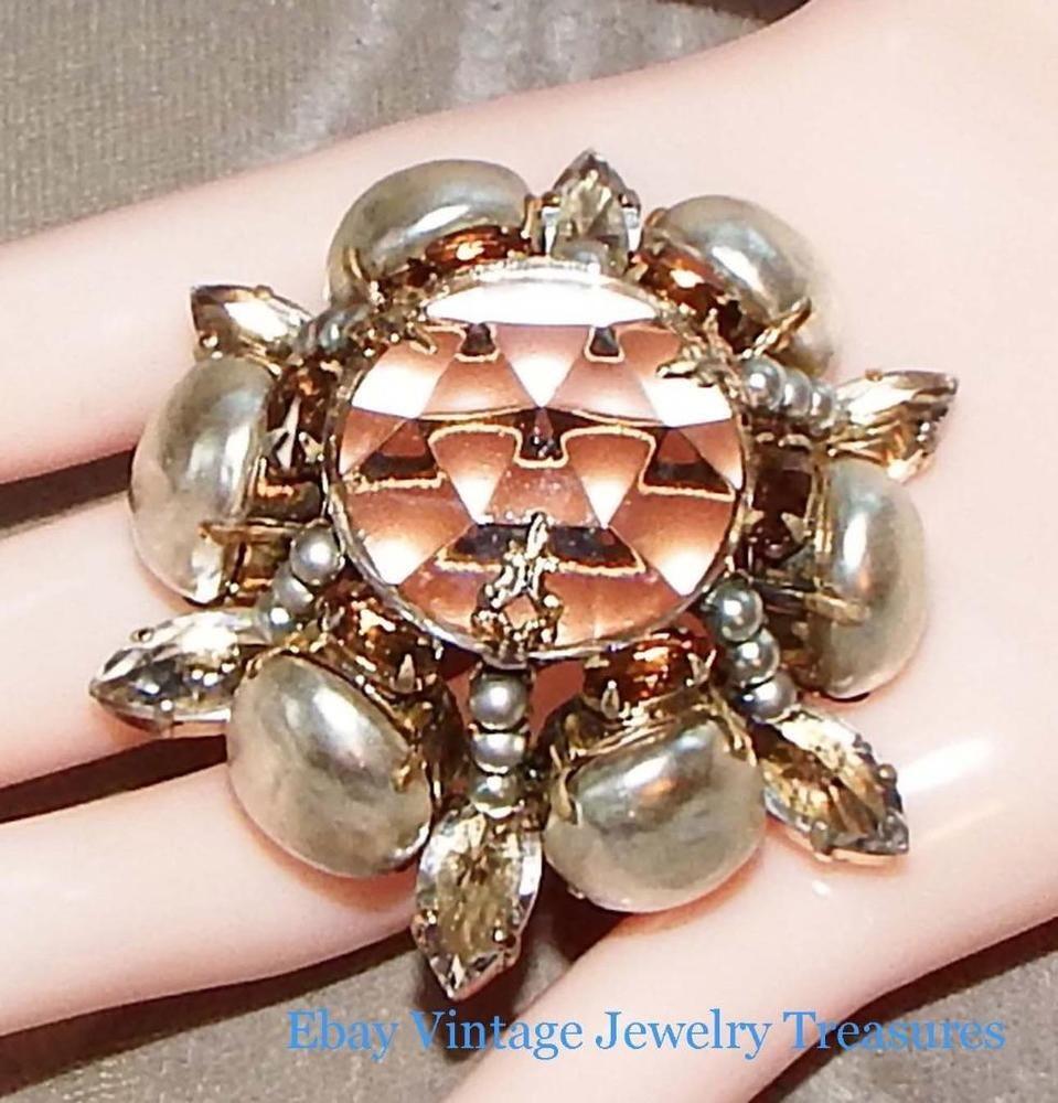 Vintage Signed SCHREINER Clear Rhinestone Baroque Pearl Domed Pin RARE #Schreiner