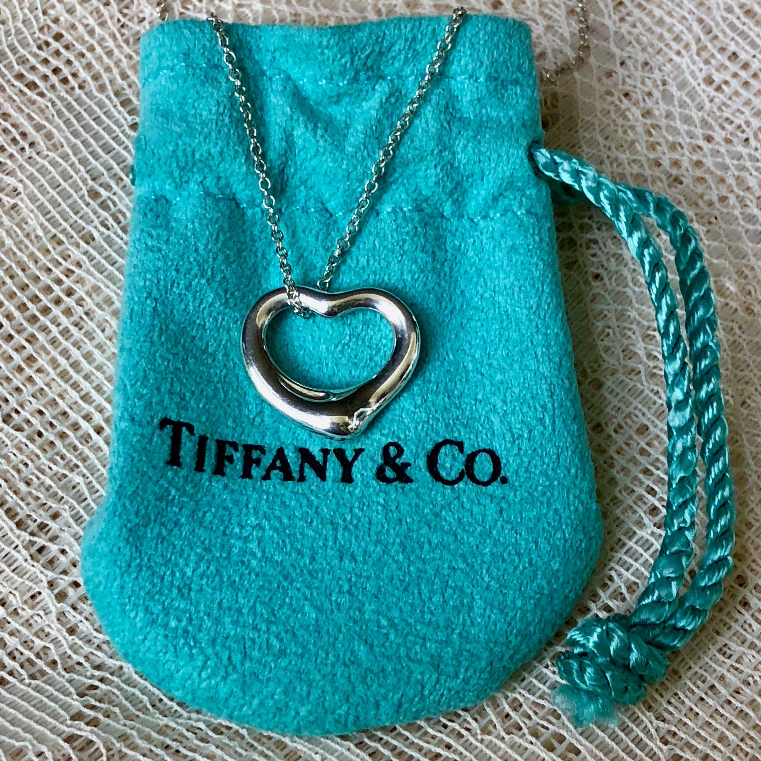 Estate tiffany necklace pendant signed elsa peretti open