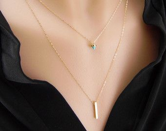 57c7244b83b7 Double strand layered necklace - 14k gold filled satellite chain and ...