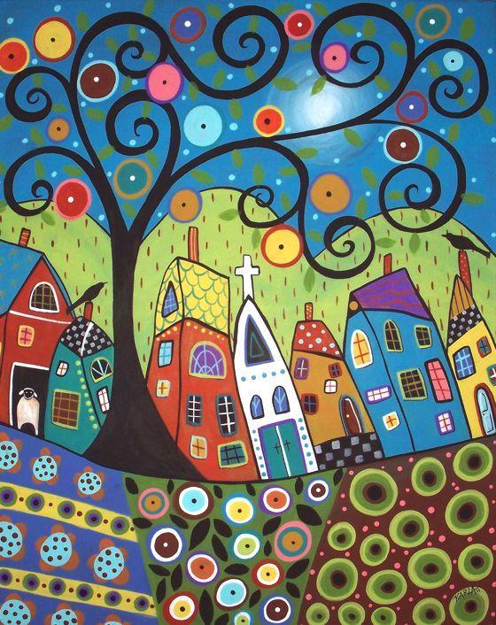 Naif Patterns In Folk Paintings By Karla Gerard Dekorative Malerei Naive Kunst Naive Malerei