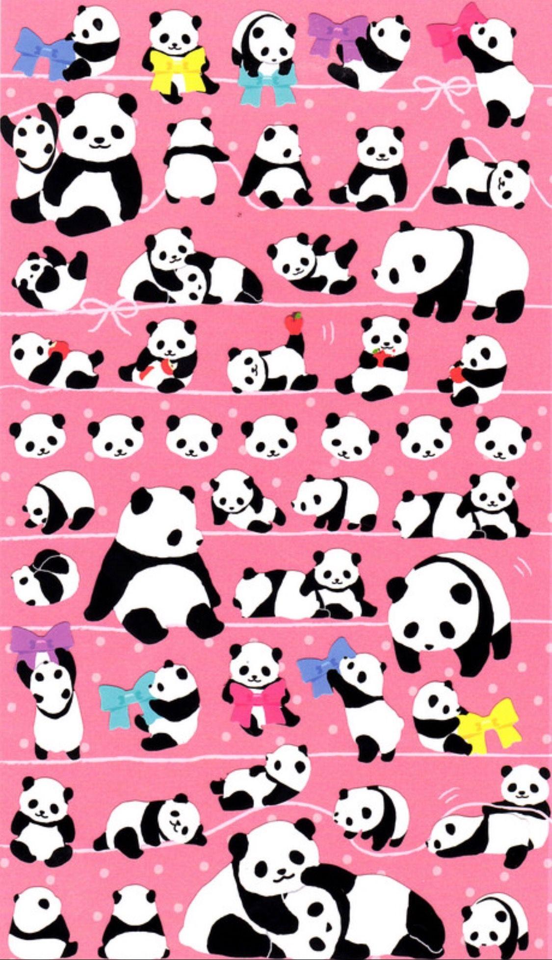 Panda Art Kawaii Wallpaper Pandas Pink