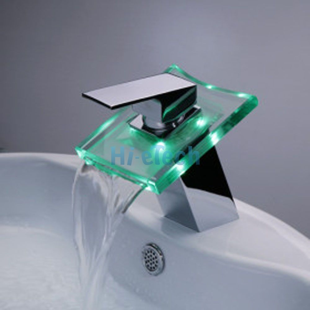 Led waterfall bathroom faucet - 3 Color Changing Led Waterfall Bathroom Sink Basin Vessel Faucets Mixer Taps