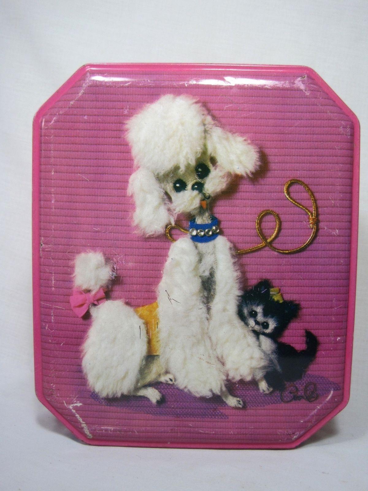Vintage Pink Kitchen Girls Room Organizer Tin Box White