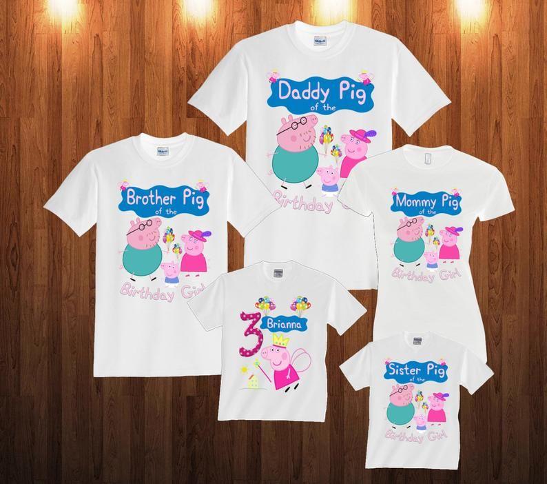 Peppa Pig Birthday Long Sleeve And Short Sleeve Shirt Custom Etsy Pig Birthday Peppa Pig Birthday Party Peppa Pig Birthday