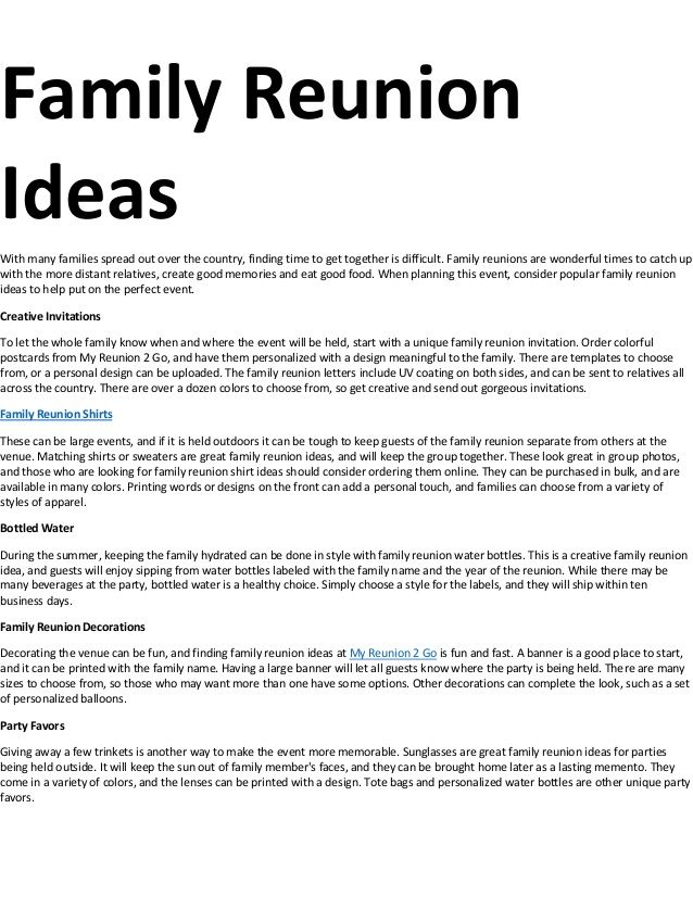 When planning this event, consider popular family reunion ideas to help put on the perfect event. Description from slideshare.net. I searched for this on bing.com/images