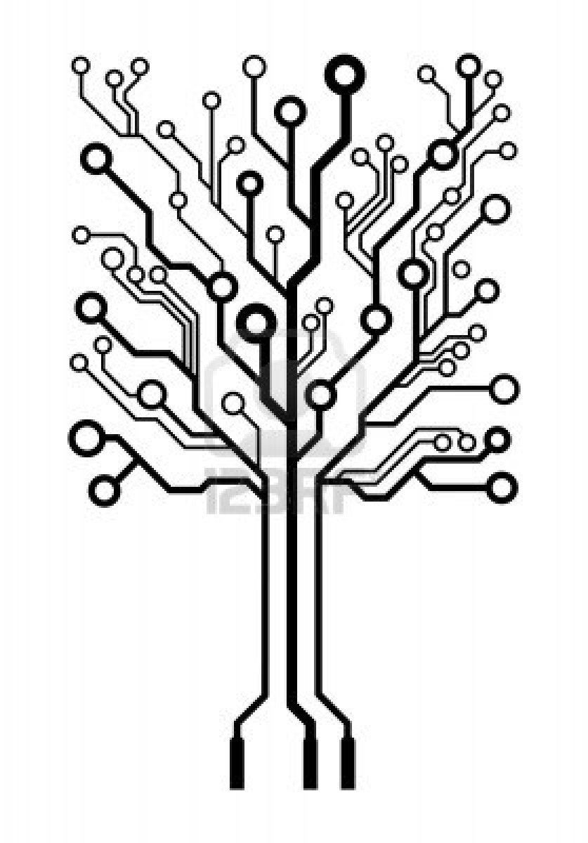 circuit board tree that would be cool as a tattoo  [ 837 x 1200 Pixel ]