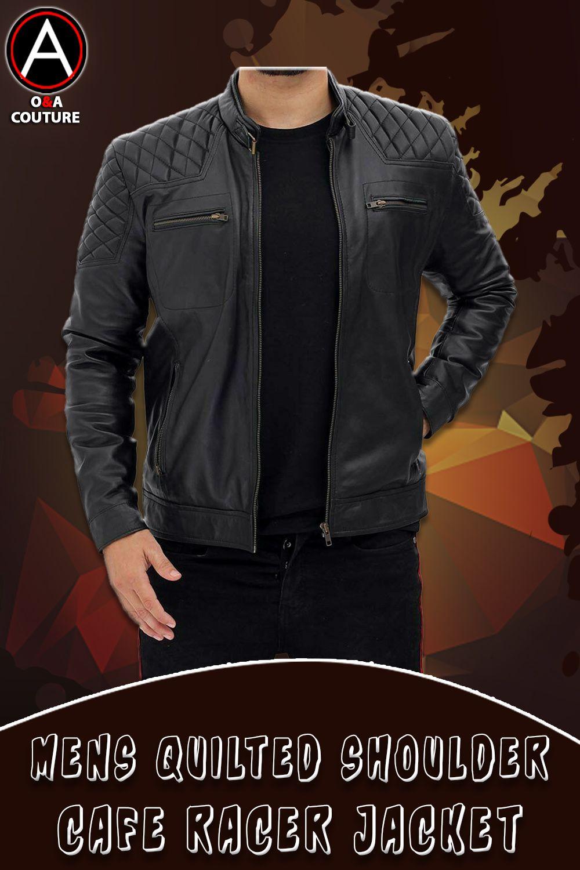 Mens Quilted Shoulder Snap Collar Black Leather Cafe Racer Jacket Ebay Cafe Racer Jacket Cafe Jacket Jackets [ 1500 x 1000 Pixel ]