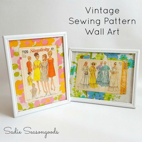 Tutorial: Vintage sewing pattern wall art   Vintage sewing patterns ...