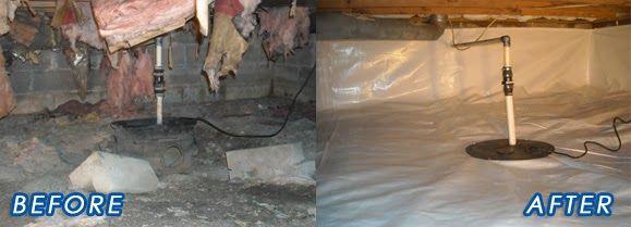 Portage In Crawl Space Waterproofing Sump Pump Crawlspace Crawl Space Repair