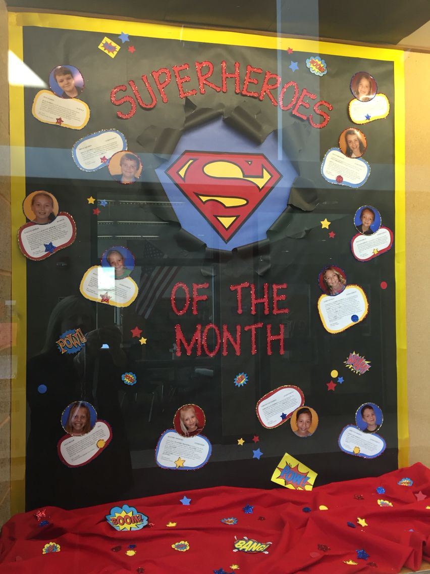 bulletin board    student of the month   superhero