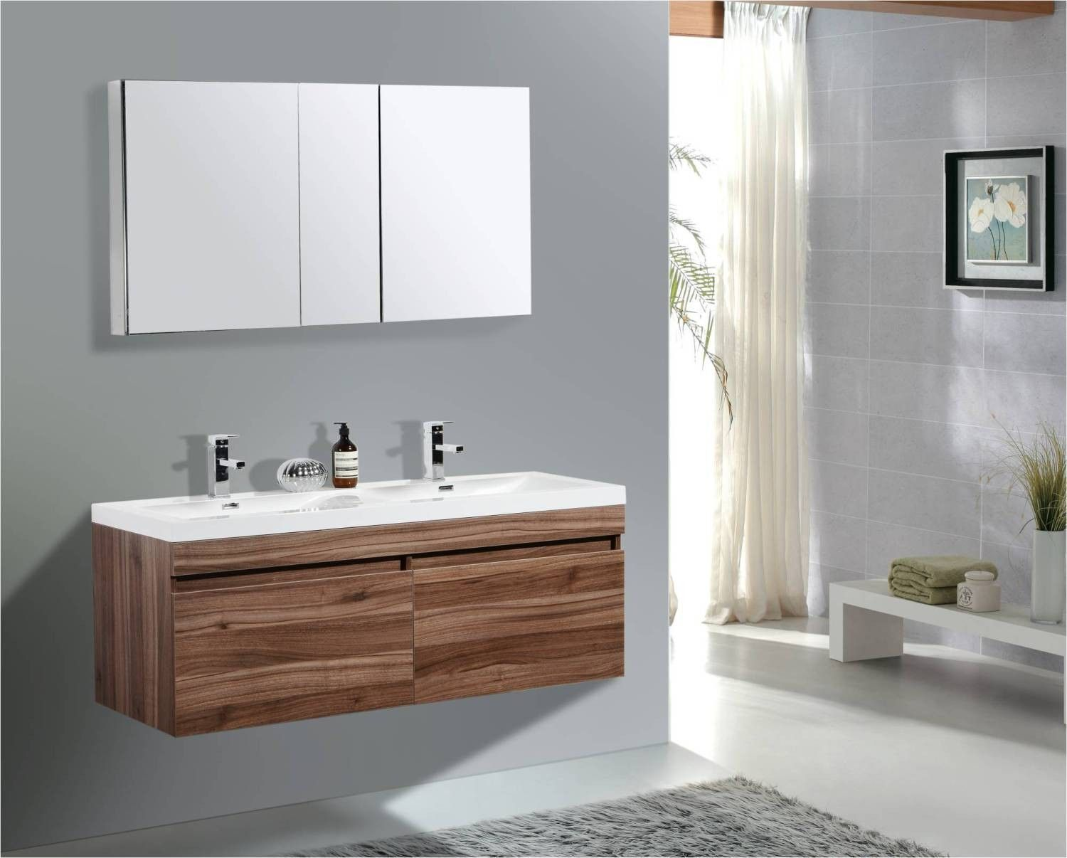 Aqua Decor Hailey 56 Inch Double Modern Bathroom Vanity Set W