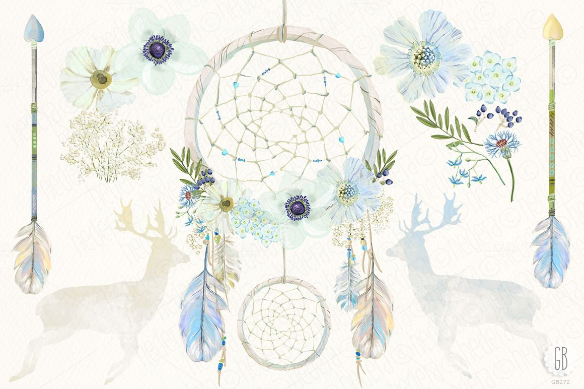Watercolor floral dreamcatcher boho by GrafikBoutique on
