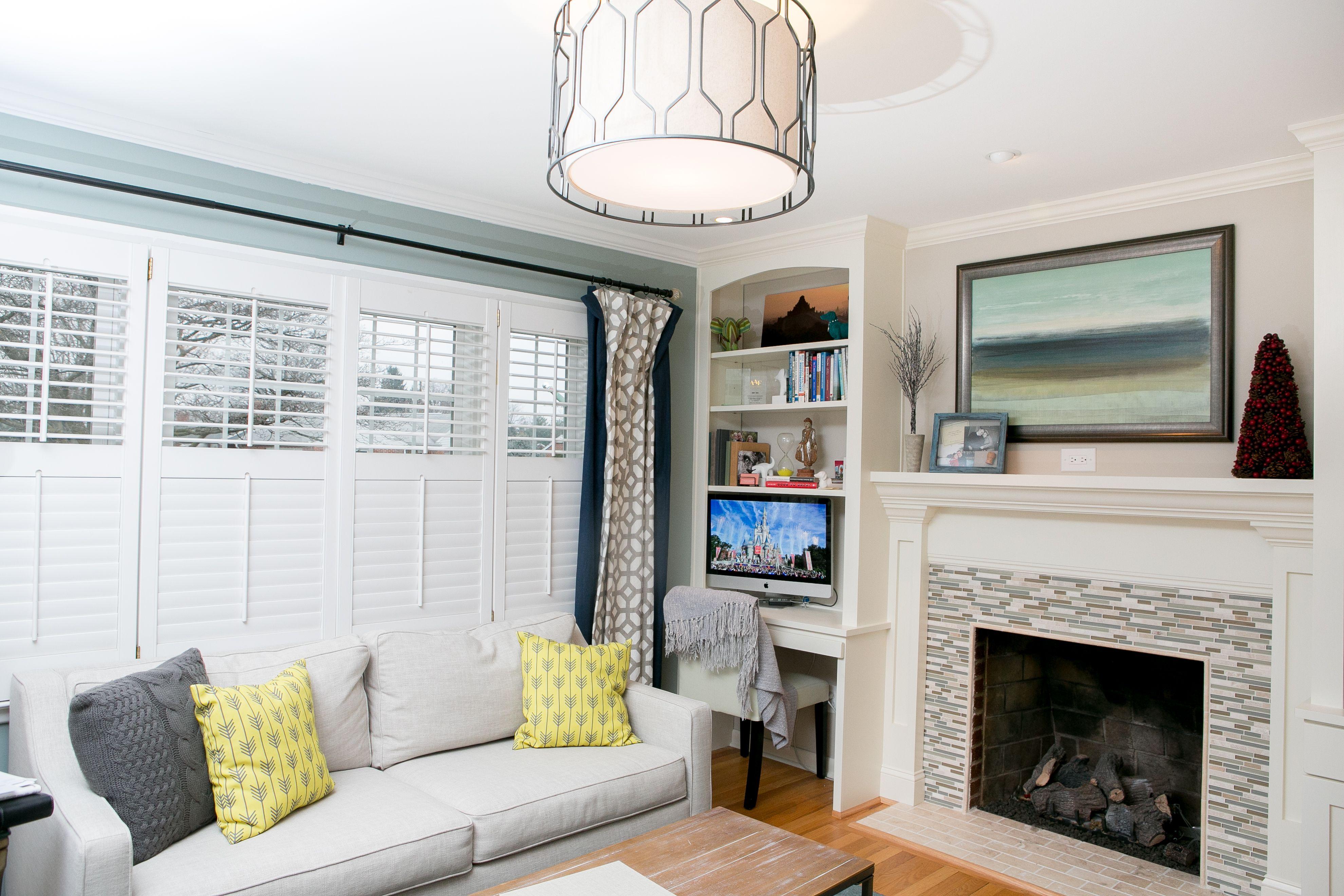 Living room + office combination. Built-in bookshelves/desk/TV space ...