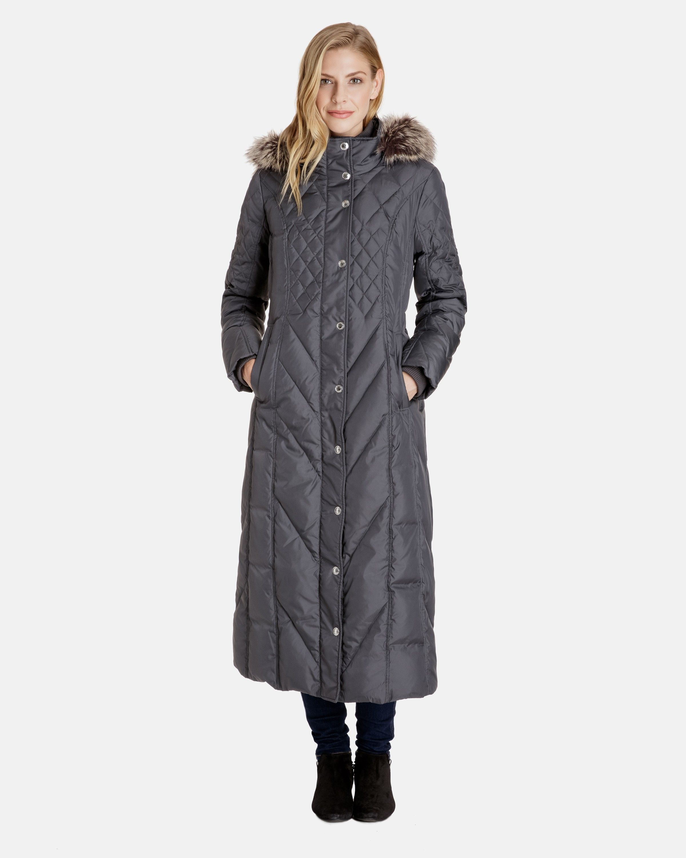 Nancy Long Down Coat with Detachable Faux Fur Trimmed Hood ...