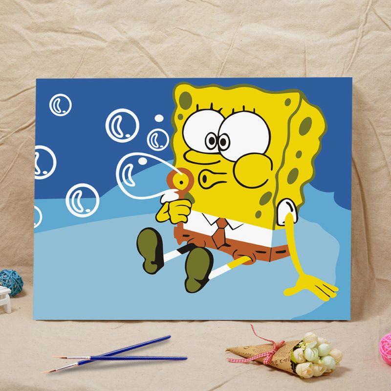 Bianche Wall SpongeBob SquarePant DIY Digital Painting By Numbers ...