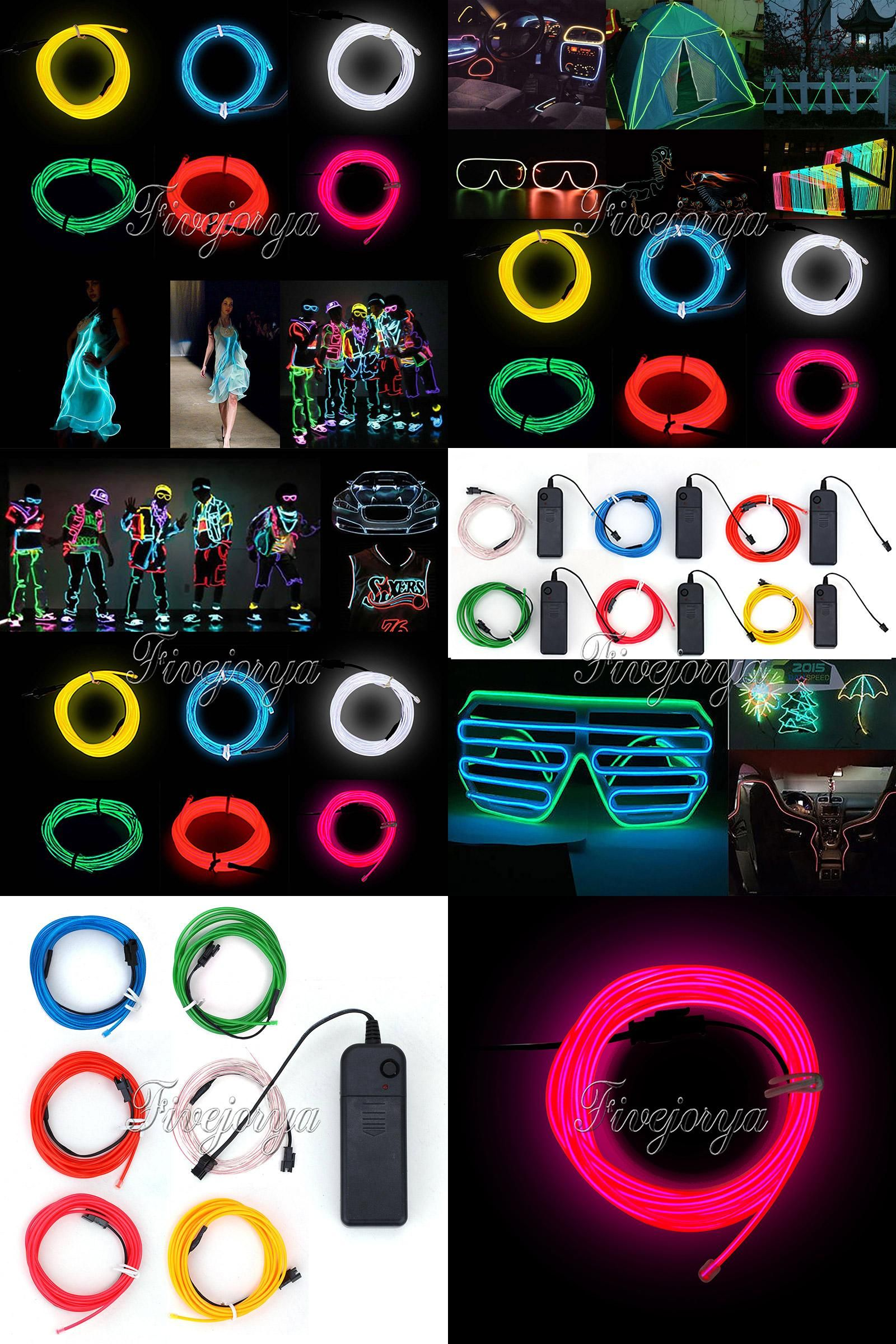 Visit to Buy] 1M EL Wire Rope Flexible Neon LED Light Glow Battery ...