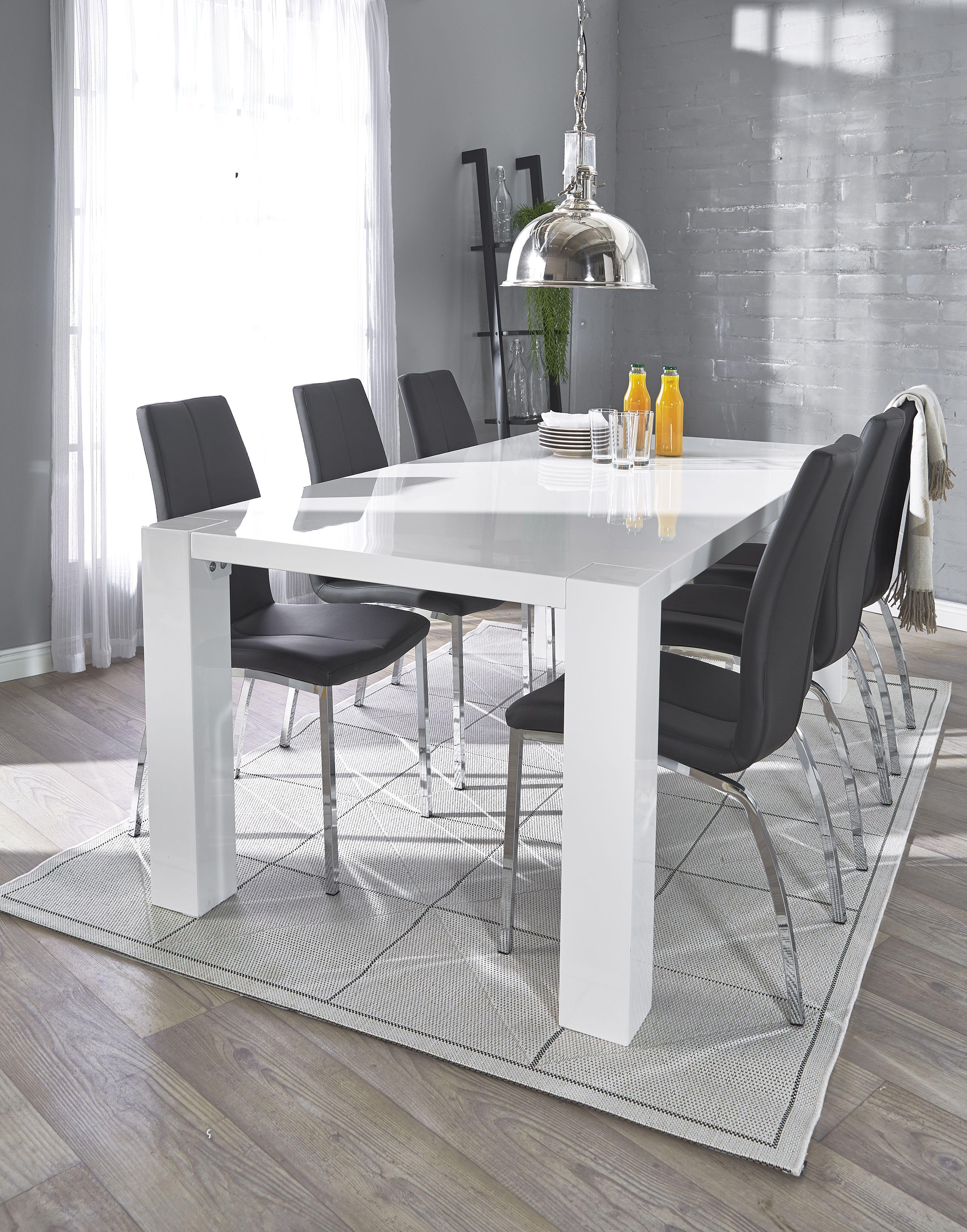 TWIST ruokapöytä ja 6 ASTON tuolia Musta tai valkoinen keinonahkaverhoilu, k