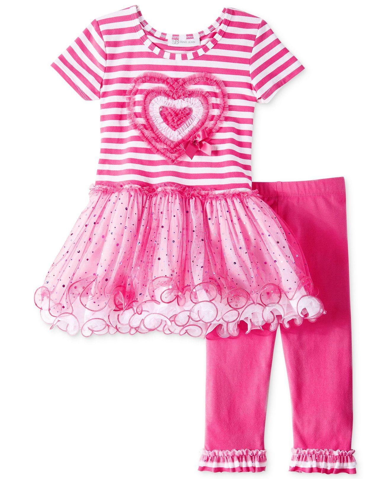 Bonnie Jean Baby Girls St Valentine Pink Heart Birthday Jumper Set 12 24 Months