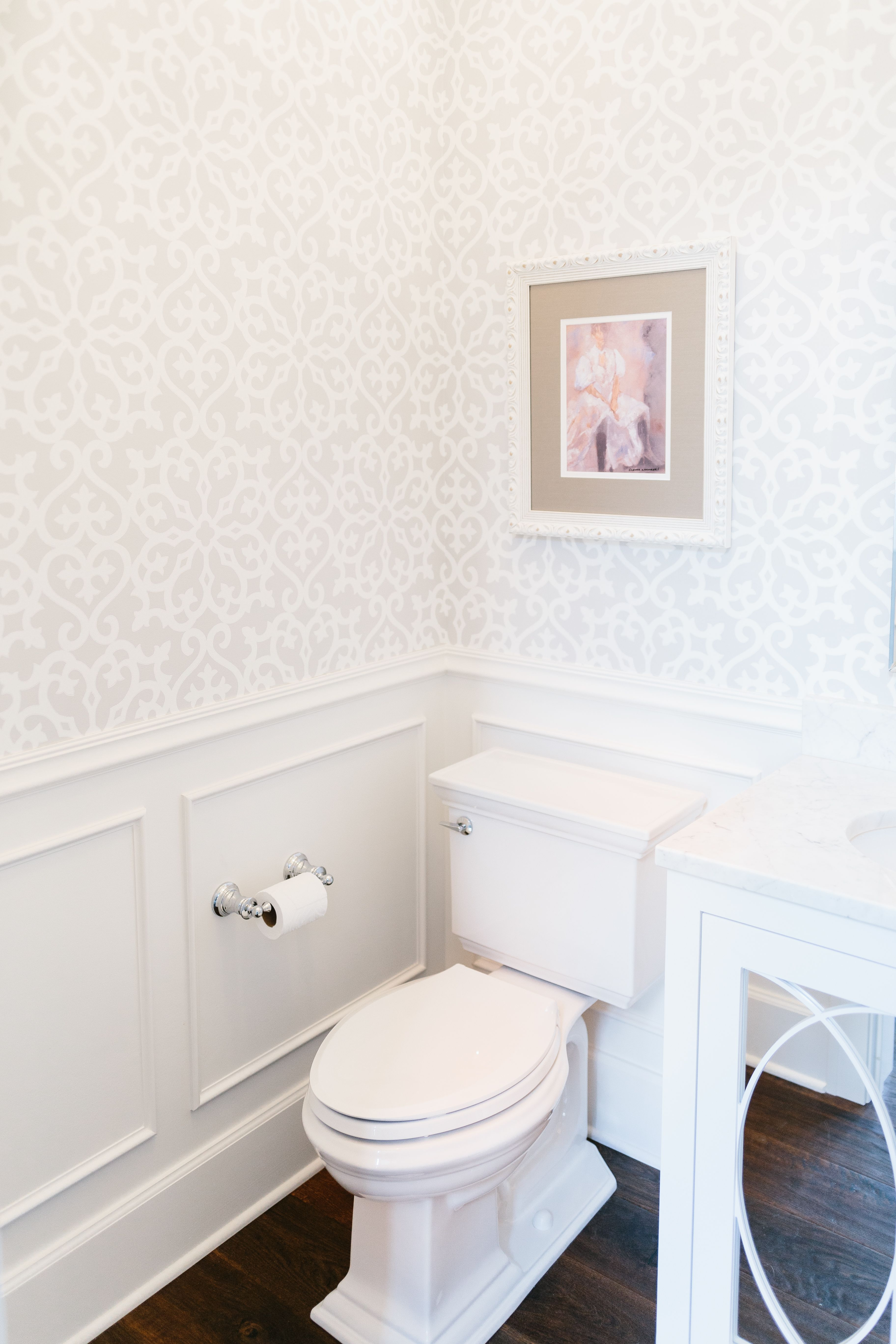 Powder Room Bathroom With Beautiful Wallpaper And Wainscoting Designed By Interior Impressions Blog Tiny Powder Rooms Powder Room Wallpaper Powder Room Small