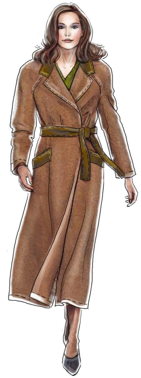 Raincoat with Raglan Sleeves | Lekala Fashion Illustration | Pinterest