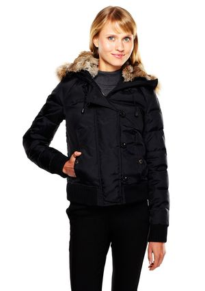 51c624232 PAJAR CANADA Down Bomber Jacket with Fur-Lined Hood | Women's ...