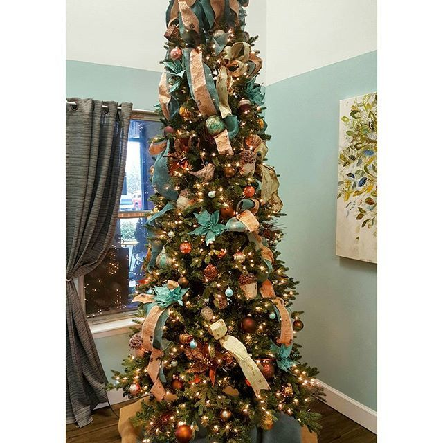 Teal Brown And Copper Tree That Matches The Room At Jefferson City Nursing And Rehab Florissimodesign Holiday Decor Holiday Christmas Tree Christmas Tree