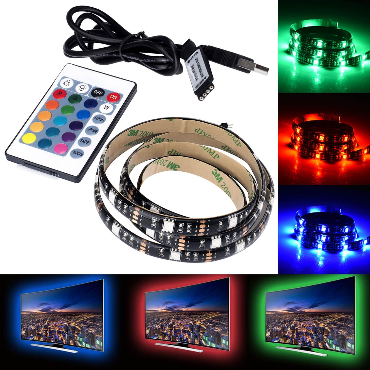 RGB USB LED Strip Light TV Computer Backlight 5V USB LED Strip 5050 RBG 5//10M UK