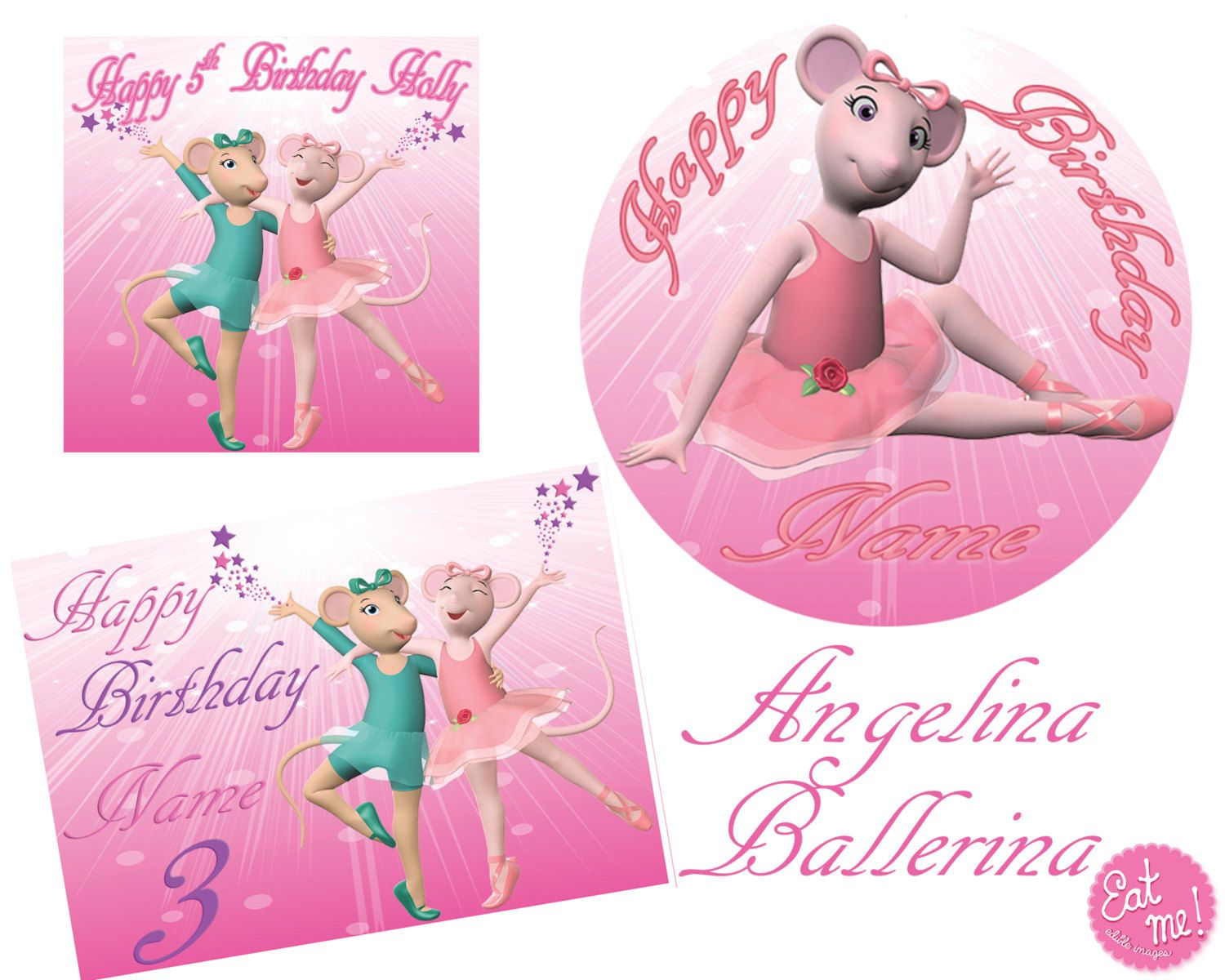 Angelina Ballerina Personalised Real Icing Edible Image Cake Topper by EatMeEdibleImages on Etsy