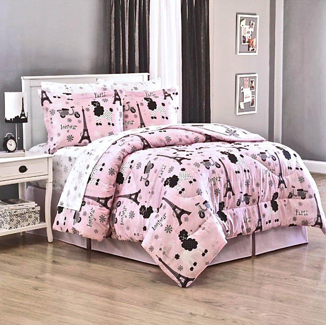 Paris Themed Bedroom For Teenagers Amazoncom Bonjour Teen Girls Pink Paris Chic Eiffel Tower