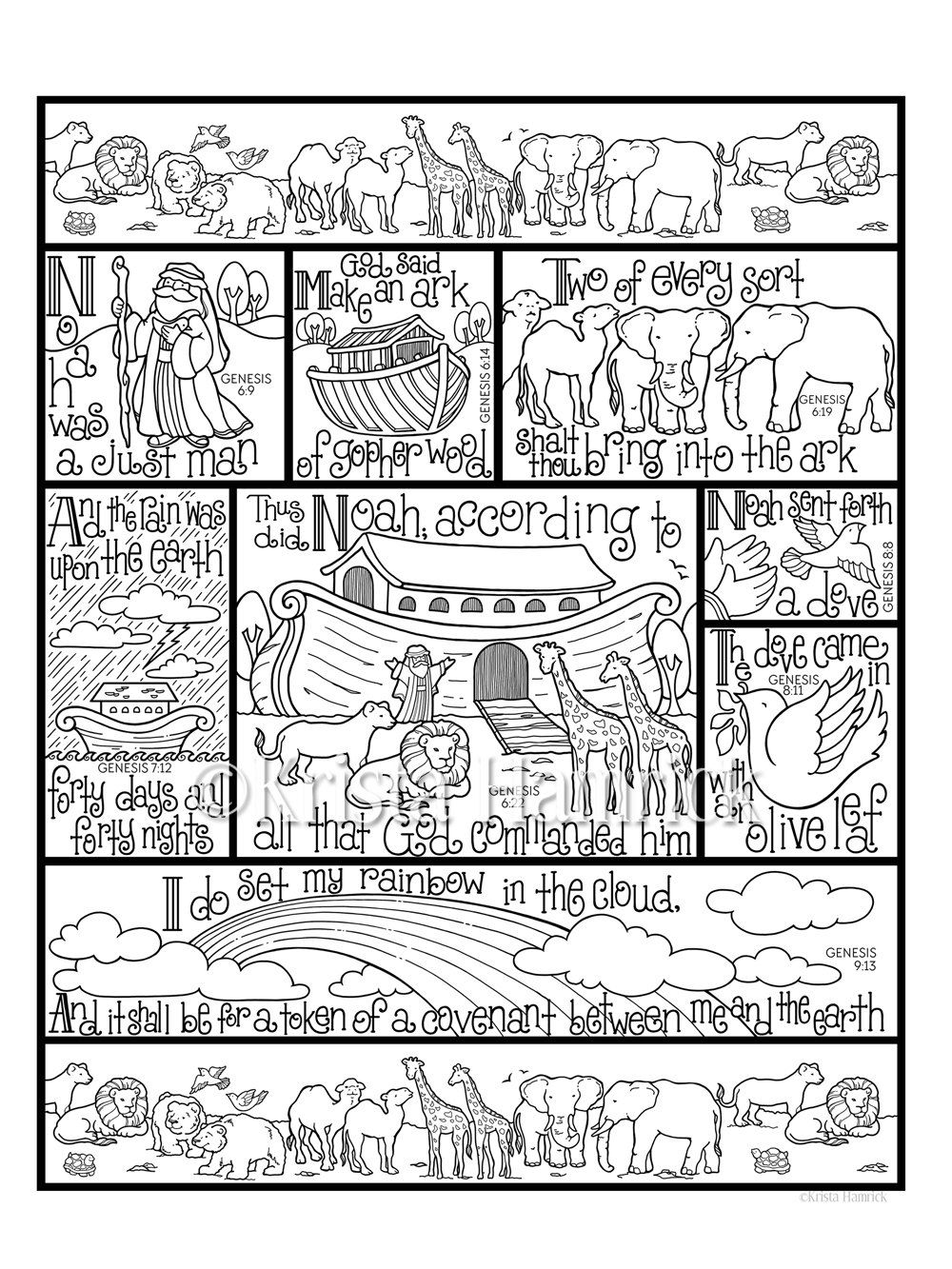 Noahs Ark Coloring Page In Three Sizes 85X11 8X10