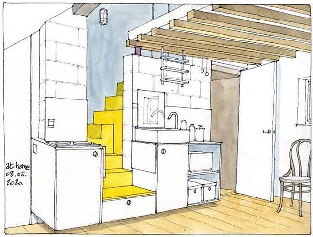 "Gérard Michel on Instagram: ""L'escalier jaune #athome #uskathome #urbansketchers #uskbelgium #sketch #sketchbook"""