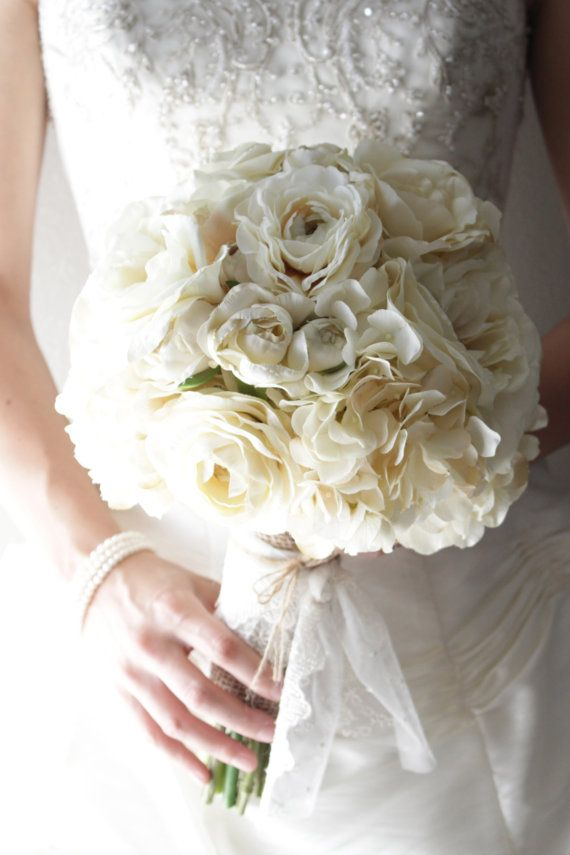 Ivory silk flower burlap and lace bridal bouquet on etsy photo ivory silk flower burlap and lace bridal bouquet on etsy mightylinksfo
