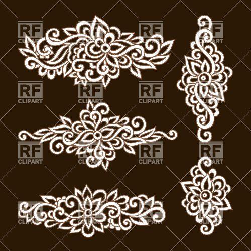 Ornate Ornamental Floral Elements 29775 Design Elements Download Royalty Free Vector Clipart Eps Pejsli Trafaret Shvejnye Idei Islamskie Uzory