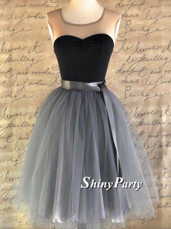 34f6f61b799 Round Neck Sleeveless Short Prom Dresses
