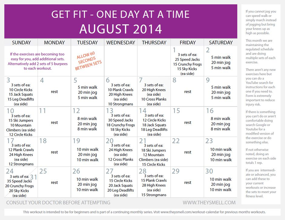 Daily beginner workout plan for August | Best Workout plans ideas
