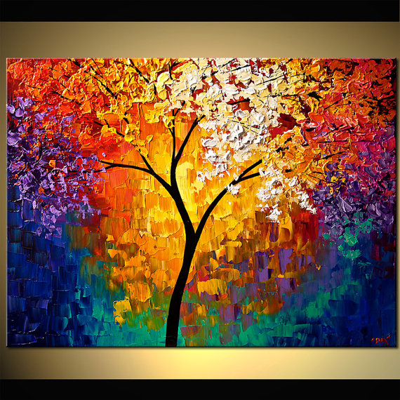 Landscape Blooming Trees Painting Original Abstract Modern Acrylic