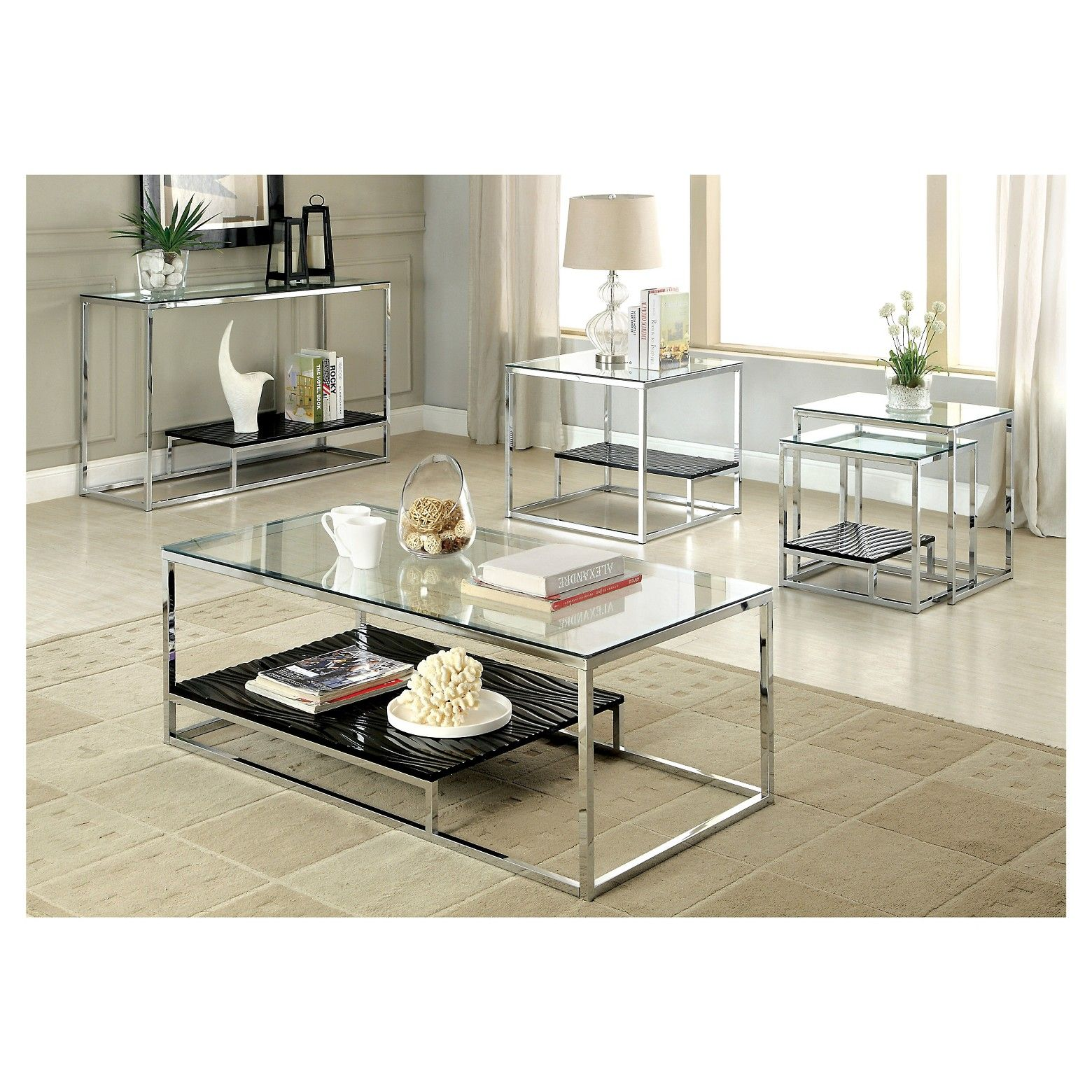 Best Furniture Of America Tressie Chrome Glass Top Sofa Table 400 x 300