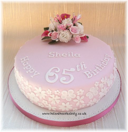 Pink Lace 65th Birthday Cake With Images 65 Birthday Cake