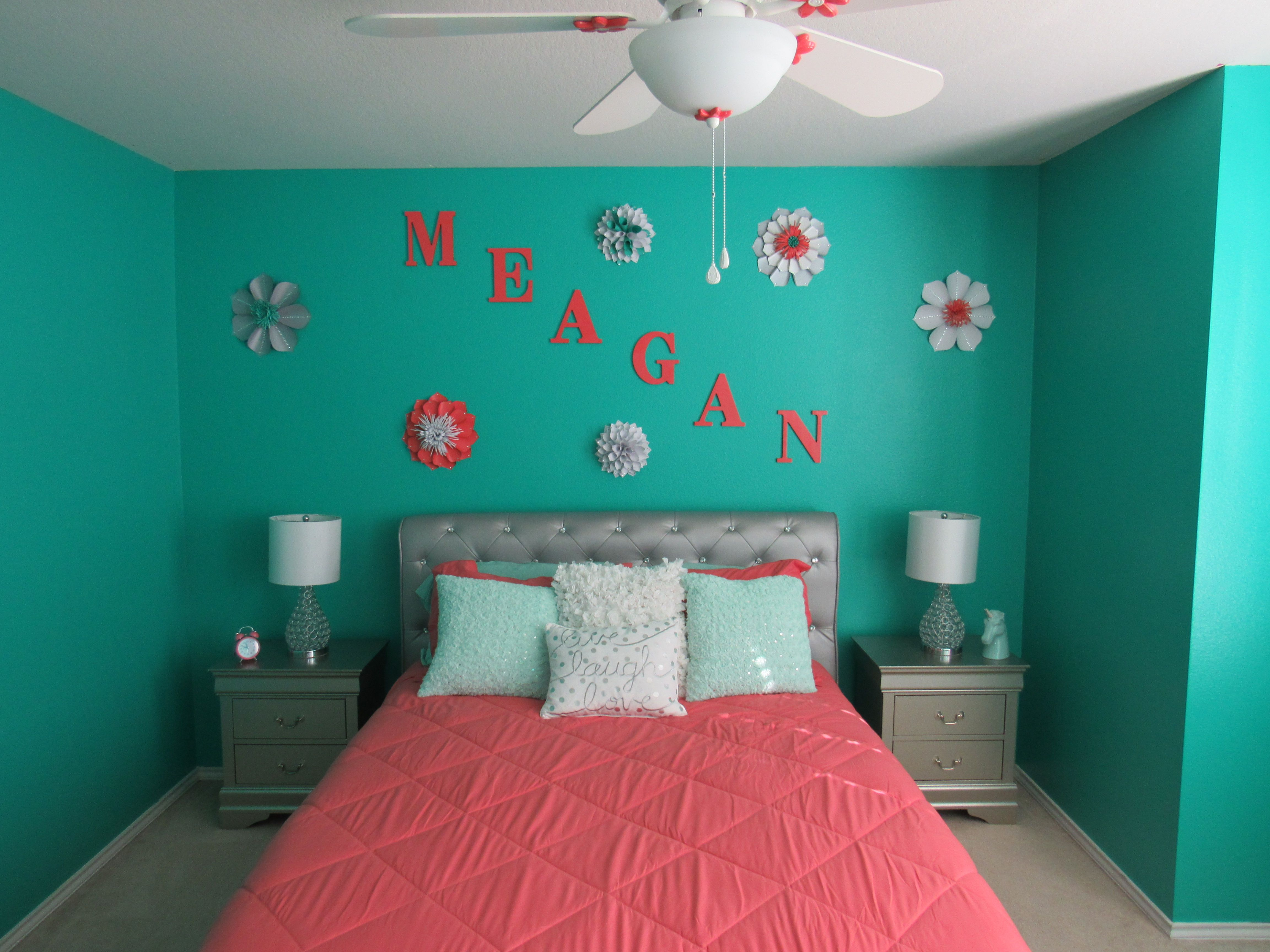 Girls teal and coral and silver bedroom diy project. teal walls ...