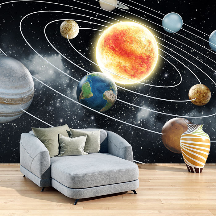 Space Wall Mural Planets Solar System Photo Wallpaper Kids Bedroom