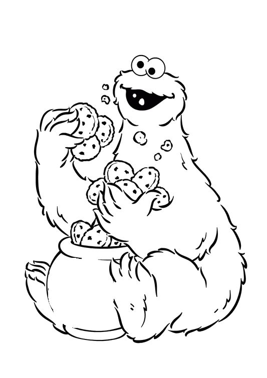 Cookie Monster Holding A Lot Of Cake Coloring Pages Sesame