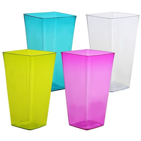Bulk Colorful Translucent Square Plastic Vases 725 In At
