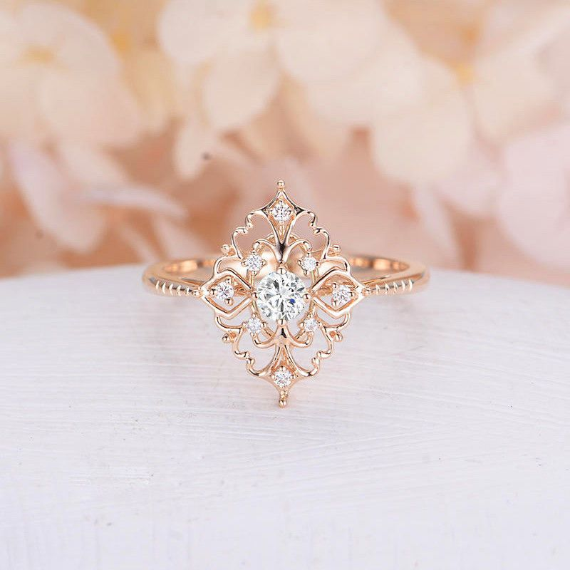 Details about Women's Rose Gold Filled Jewelry Wedding Rings White Sapphire Size 6-10