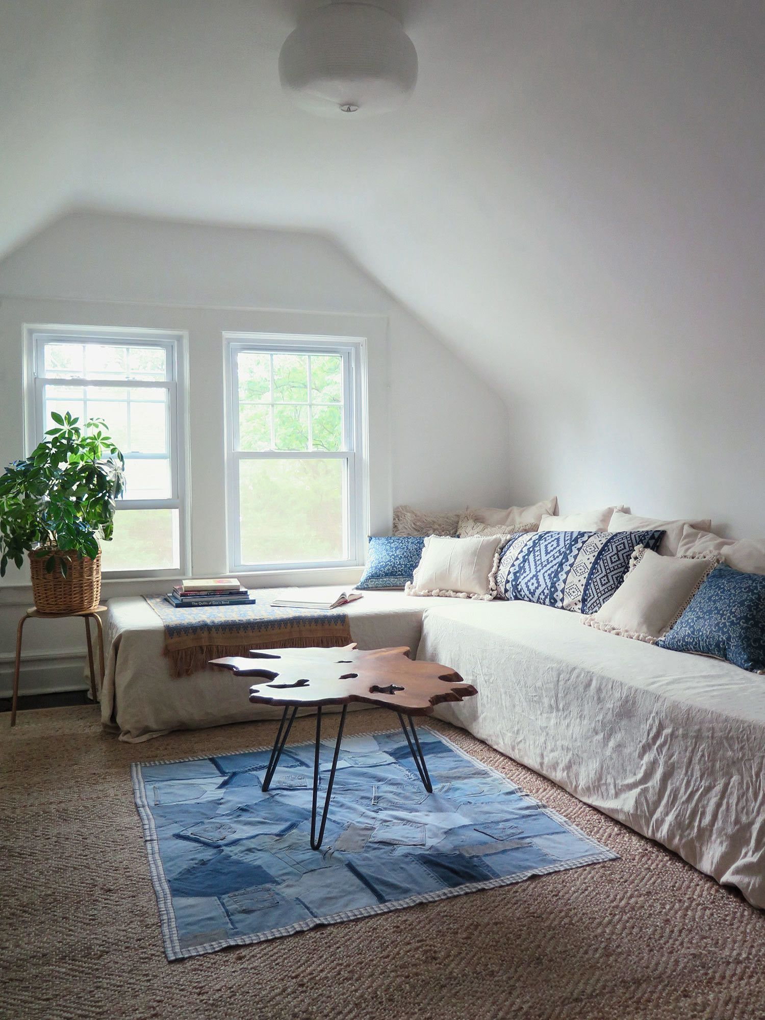 daybeds double as seating..Moody Blues - A Modern Bohemian Home in South Orange, New Jersey - Photos