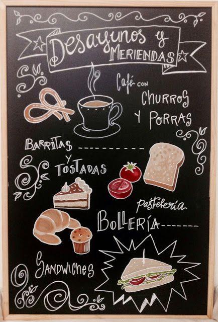 A mano gr fica desayunos y meriendas cool works - Pizarras de bar ...