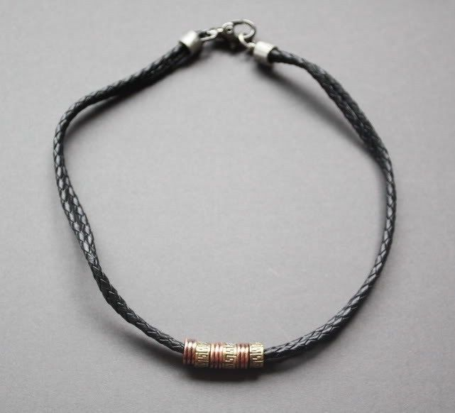 NEW Leather Men/'s Metal Surfer Braided Necklace Choker