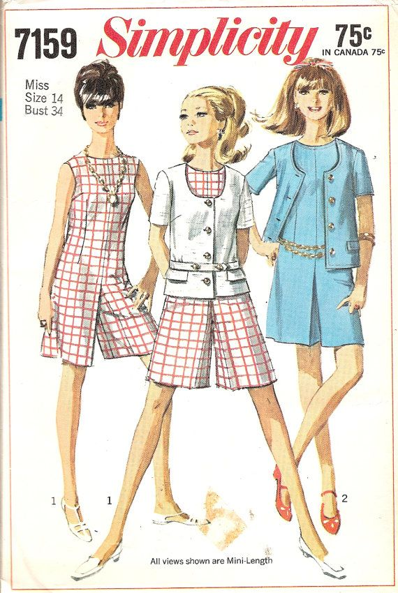 Vintage Sewing Pattern 1960s Culotte and Jacket Simplicity 7159 ...