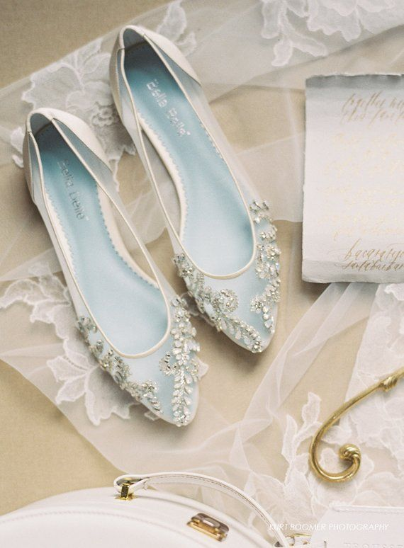 2c6311128cf822 Beautiful Wedding Flats with Opal and Crystal Beading Bridal Shoes - Glass  Slipper with  Something B
